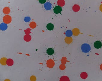 Vintage 1980's Artist Paint Splashes Art Student Pink Blue Green Yellow Orange Gift Wrap Wrapping Paper
