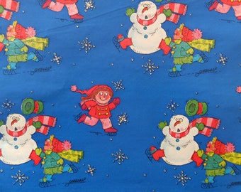 Vintage Christmas Snowman Children Boy Girl Signed Artist Mahan Gift Wrap Wrapping Paper