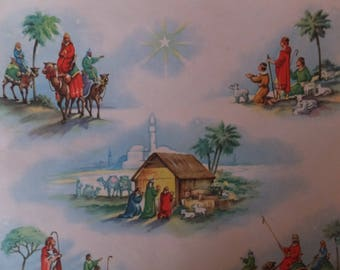 Vintage Birth Of Jesus Christ Magi Three Wise Men Bethlehem Christmas Gift Wrap Wrapping Paper