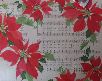 1 Sheet Vintage Christmas Music Joy To The World Deck The Halls Carol Red Poinsettias Gift Wrap Wrapping Paper