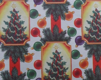 1 Sheet Vintage Victorian Christmas Tree Gift Wrapping Paper