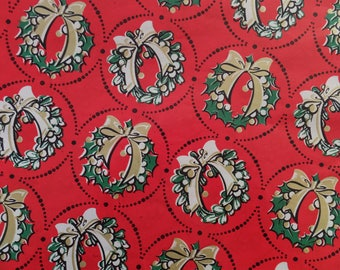 Vintage Christmas Red Green Gold Wreath Ribbons Bows Gift Wrap Wrapping Paper