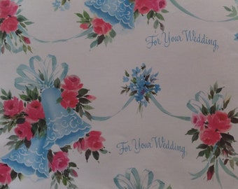 Vintage For Your Wedding Blue Bells Pink Roses Wedding Shower Gift Wrap Wrapping Paper