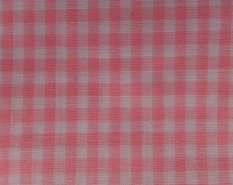 Vintage Pink & White Gingham Check Plaid Cotton Fabric