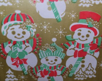 1 Sheet Vintage Gold Snowman Snow Family Mom Dad Baby Christmas Gift Wrap Wrapping Paper