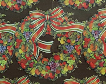 Vintage Christmas Thanksgiving Fall Autumn Fruit Wreath Gift Wrap Wrapping Paper