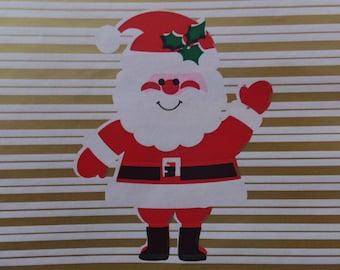 Vintage Christmas Santa Shiny Gold White Stripe Gift Wrap Wrapping Paper