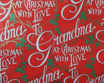 1 Sheet Vintage To Grandma At Christmas With Love Gift Wrap Wrapping Paper