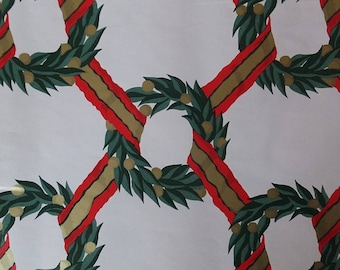 1 Sheet Vintage Christmas Green Red Gold Fir Wreath Ribbons Gift Wrap Wrapping Paper