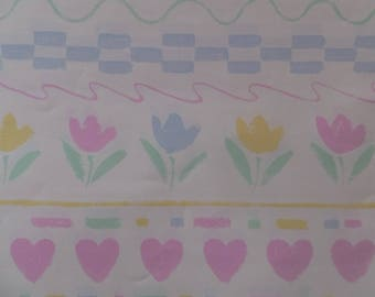 Vintage 1980's Hearts & Flowers Spring Garden Gift Wrap Wrapping Paper