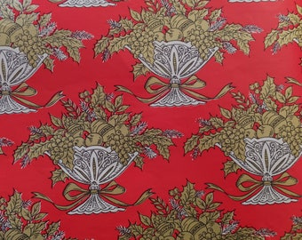 Vintage Victorian Red Gold Bowls of Fruit Christmas Gift Wrap Wrapping Paper