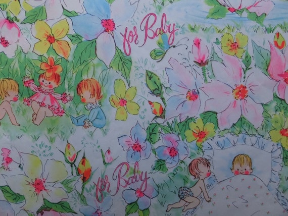 Vintage 1960 S Babies Flower Garden Baby Shower Gift Wrap Etsy