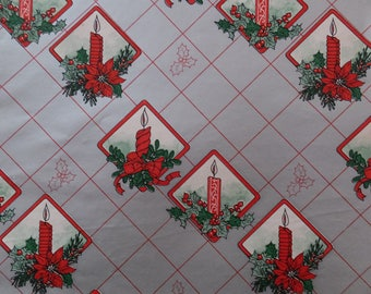 Vintage Christmas Red Candles Poinsettias Holly Shiny Silver Gift Wrap Wrapping Paper