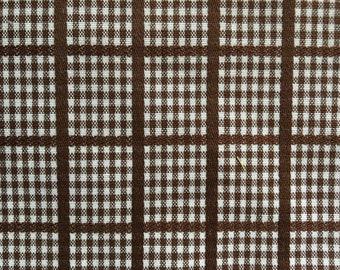 Vintage Brown & White Gingham Check Plaid Cotton Fabric