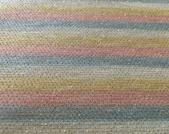 Vintage 1960's Mod Striped Stripe Blue Pink Yellow White Sparkly Glitter Metallic Jersey Knit Fabric