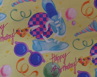 Vintage 1980's Happy Birthday Sneakers Sunglasses Balloons Horns All Occasion Gift Wrap Wrapping Paper