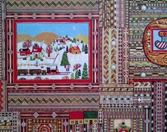 1 Sheet Vintage Hallmark Country Patchwork Quilt Joy Christmas Gift Wrap Wrapping Paper