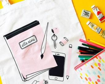 Elle Aime Tote bag | screenprinted bag, cotton tote bag, pink tote bag, white tote, cute bag, art supply bag, illustrated tote bag, pink