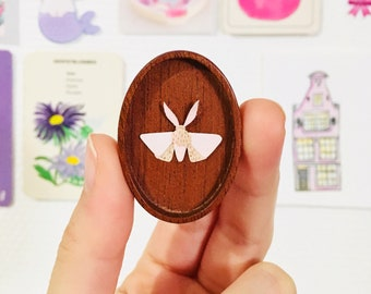 Original Art - Tiny Paper Moth in wooden frame | one of a kind illustration, paper cut, miniature artwork, tiny paper animal, miniature moth
