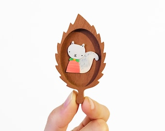 Original Art - Tiny Paper Squirrel in wooden leaf frame | one of a kind illustration, paper cut, miniature artwork, tiny paper animal