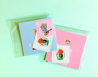 Set of Tiny Paper Animals Cards | paper art, stationery set, cute post cards, kawaii animals, miniature art, illustration prints, wall art