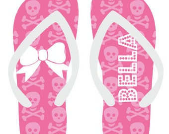 d8188b999eb158 SKULLS personalized monogram flip flops for adults and kids by Rouge Jr for  adults and kids