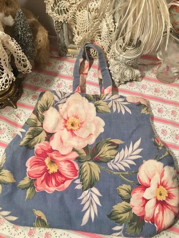 Original Barkcloth Bag~Fabulous ~Blue, Roses,Flora
