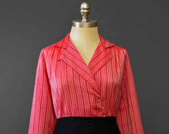 Vintage 70s Blouse • Sheer Striped Red Blouse • Wrap Blouse • Secretary Blouse • 1970s Blouse • Double Breasted Long Sleeve Striped Blouse