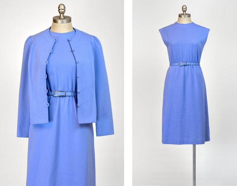 c309610c93d4 Vintage 80s Dress Set 1980s Leslie Fay Periwinkle Wool Dress   Etsy