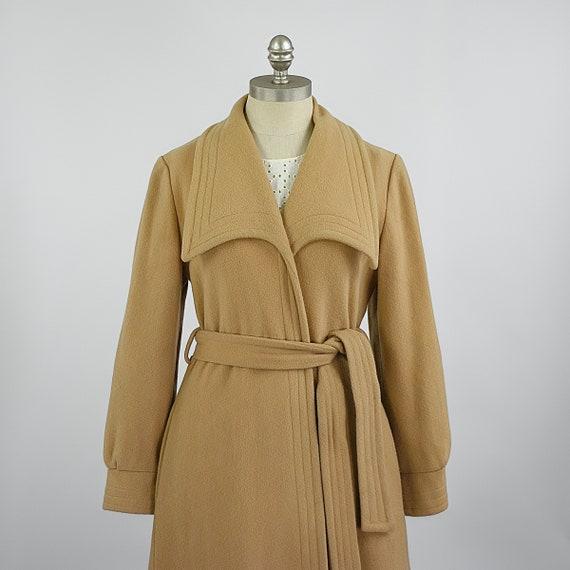 Womens Vintage Camel Coat | 70s Tan Wool Coat | 19