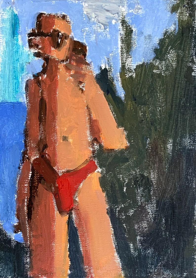 Figure Painting Male Nude Speedo Selfie Original Oil image 0