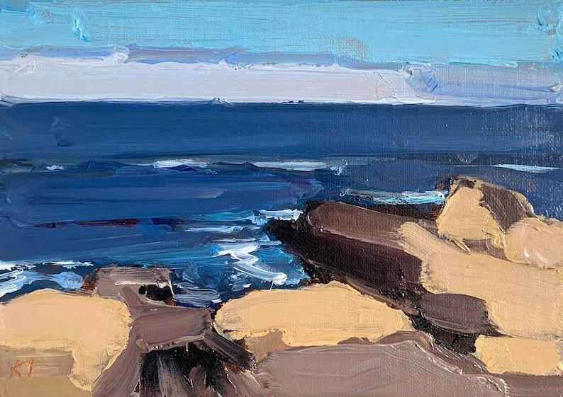 Sonoma California Landscape Painting California Coast Salt image 1