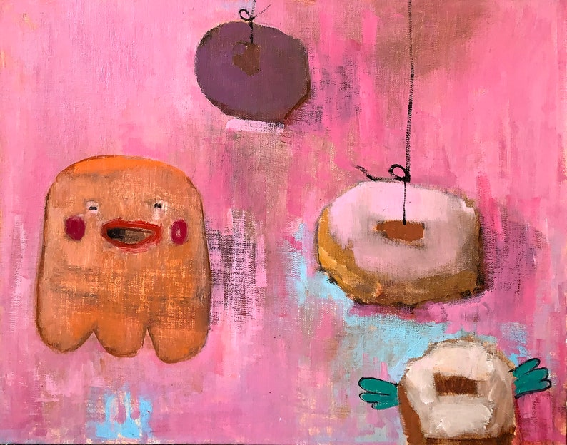 Donuts Painting Pink Donuts Ghosts and Things with Wings image 0