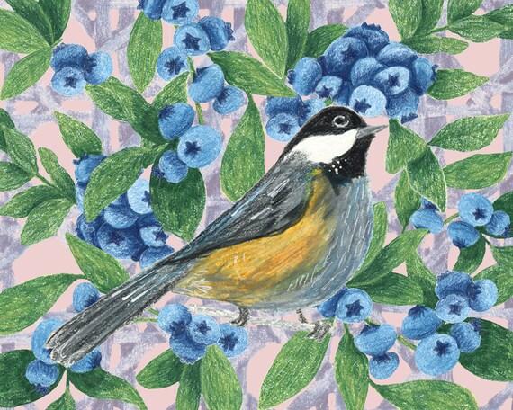 Maine Chickadee Blueberry Centerpiece  12 /& 6