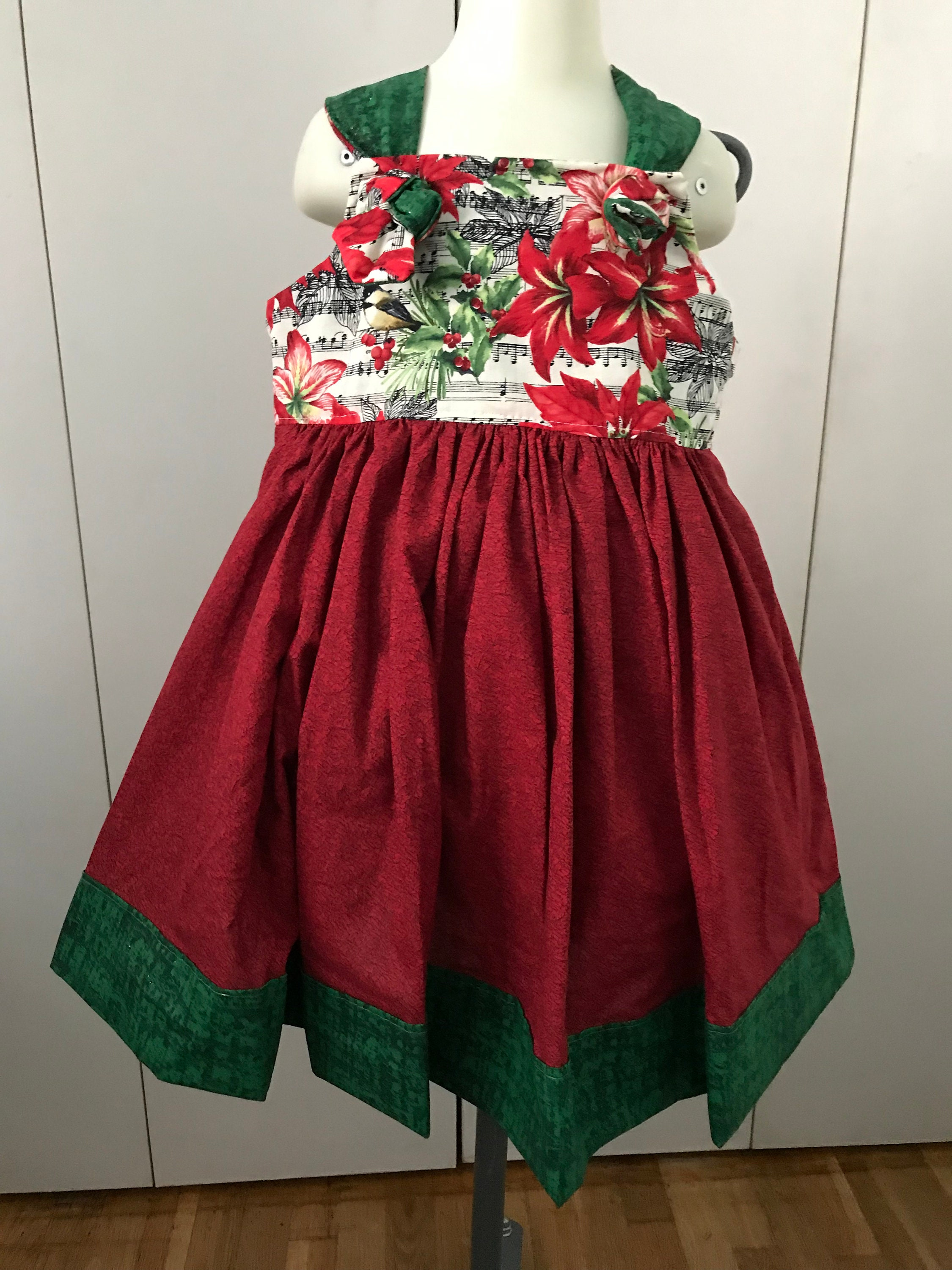 7490e2a27 Girls Christmas Poinsettia Boutique Dress sizes 12 month-size | Etsy
