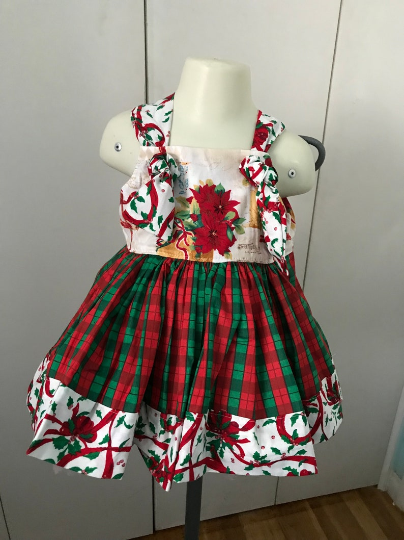 4c8a9a19306f Girls Christmas Boutique Dress red and green with poinsettias | Etsy