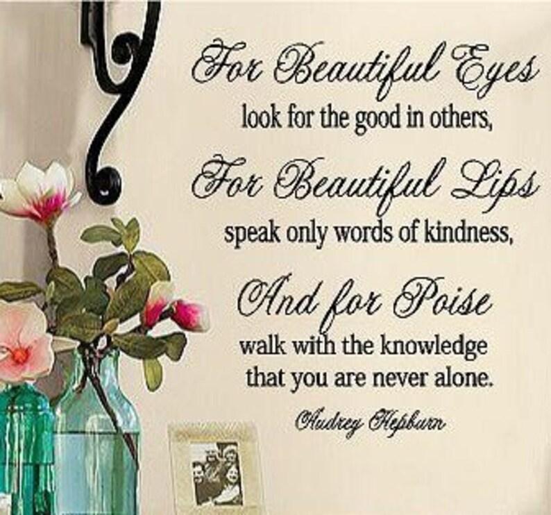Audrey Hepburn For Beautiful Eyes Vinyl Lettering Wall Etsy