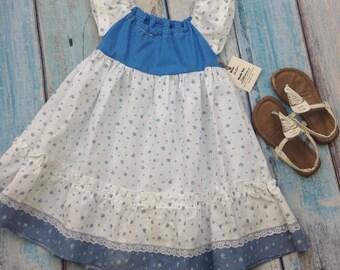 12-18M Upcycled Ruffle Dress / kids peasant dress / baby girl dress / blue girls dress / folk baby clothes / cute baby dress