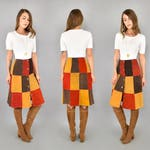 70's Patchwork Suede Skirt