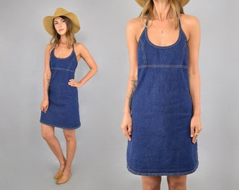 6fd86d7fb2 90 s Denim Halter Dress