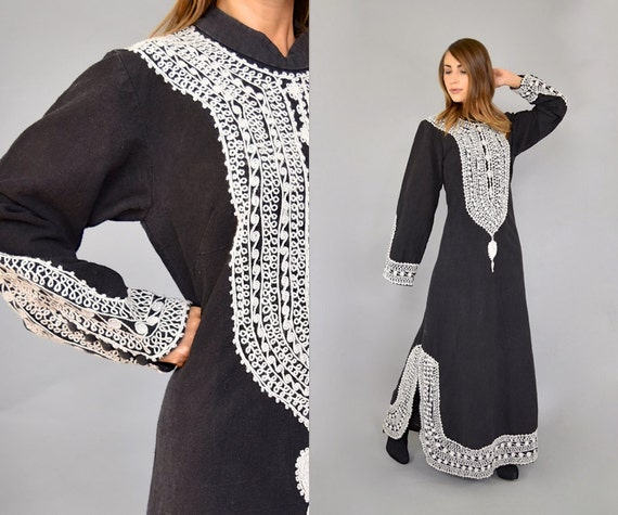 70's Heavily Embroidered Caftan Dress