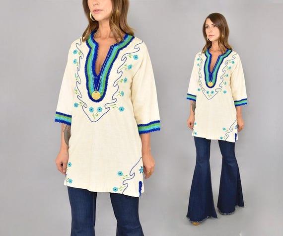 70's Embroidered Tunic Tunic Tunic 70's Embroidered Columbian 70's Columbian Columbian Embroidered XqvrwX