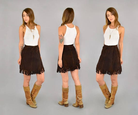 70's Suede Fringe Mini Skirt