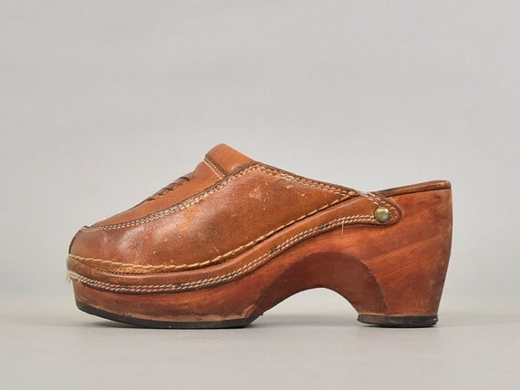 70's Wooden Leather Clogs