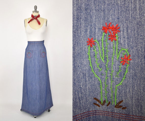 70's Embroidered Maxi Skirt