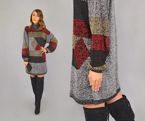 Lurex 80's Dress Sweater Lurex 80's Metallic Metallic d6xE181