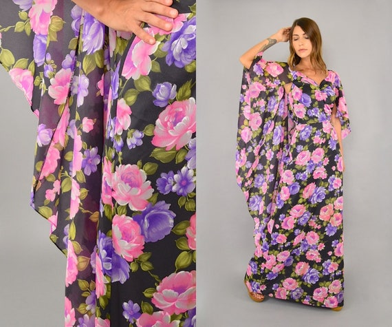 Lilli Cape Chiffon Diamond 70's Dress Floral wHOgvxqqp