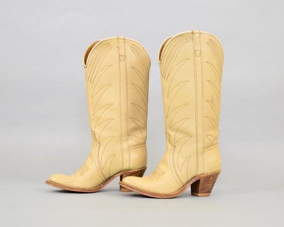 5 Leather US Western Boots 70's 6 SXdq4XT