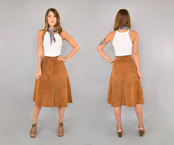 Suede Midi 70's Suede Suede 70's 70's Skirt Skirt Midi 6wY4q6z