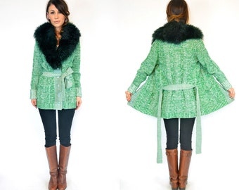 vintage 1970s SPACE DYE shearling fur KNITTED bohemian cardigan wrap sweater, extra small-medium